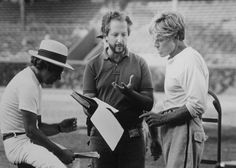 "On the set of ""The Natural"", 1984.  L to R: Director Barry Levinson, screenwriter Robert Towne, Robert Redford."