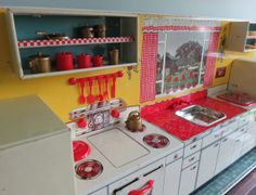 1950 Marx Modern Toy Kitchen Set, Complete with All Parts, Accessories & Box, Hard to Find