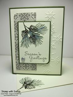 Stampin' Up! ... handmade Christmas card from Stamp With Sandy: Watercolor Winter  ... pine bough focal point ... embossing folder  large snowflakes on background ... like this card ...