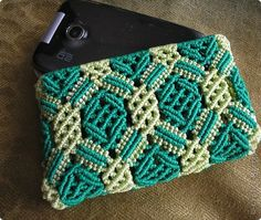 Artículos de decoración Macrame: mob Purse. teléfono Capron Cool sml. Macrame Purse for Phone etc.