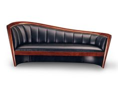 Lee Weitzman - Custom Made Borealis Sofa - Open-Grain Merlot Mahogany with black leather.