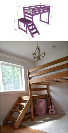 Great plans for building a loft bed with stairs! Camp Loft Bed with Stairs, Junior Height, from Ana White. Great plans for building a loft bed with stairs! Camp Loft Bed with Stairs, Junior Height, from Ana White. Loft Bed Stairs, Bunk Beds With Stairs, Bunk Bed Steps, Bunk Bed Ladder, Cool Bunk Beds, Kids Bunk Beds, Kids Beds Diy, Cool Kids Beds, Lofted Beds