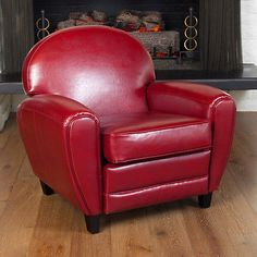 Unique Retro Modern Vintage Oversize Red Lounge Bonded Leather Accent Club Chair