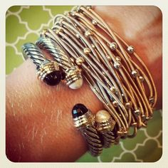 Noche Bracelets paired with a Black & Pearl London Cuff Bracelets - slinky chic!