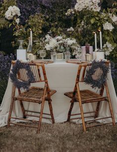Lavender Farm sweetheart table - doesn't it look the most perfectly romantic spot ever. Wedding Dinner, Elegant Wedding, Wedding Table, Wedding Reception, Jumping The Broom, Vintage Stool, Drink Table, Sweetheart Table, Outdoor Furniture Sets