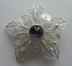 stone, filigree brooch