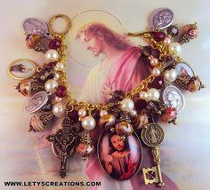 """Bread of Life"" Catholic, Jesus Christ, Saints Religious Medals Bracelet www.letyscreations.com"