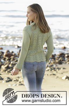Sweet Ivy Leaves - Knitted jacket with lace pattern and shawl collar in DROPS Flora. Free pattern by DROPS Design Drops Design, Summer Knitting, Free Knitting, Baby Knitting, Magazine Drops, Sweater Knitting Patterns, Jacket Pattern, Knit Jacket, Cardigans For Women