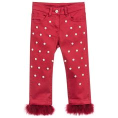 Monnalisa Red Trousers with Feathers at Childrensalon.com