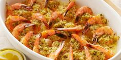 Baked Shrimp Scampi Recipe : Ina Garten i made this for Mimi's birthday tea and it was a complete hit. Ina Garten's Baked Shrimp Scampi recipe, from Barefoot Contessa on Food Network, can be made ahead of time for easy entertaining. Shrimp Dishes, Fish Dishes, Shrimp Recipes, Fish Recipes, Main Dishes, Shrimp Scampi Recipe Food Network, Top Recipes, Pasta Recipes, Baked Shrimp Scampi