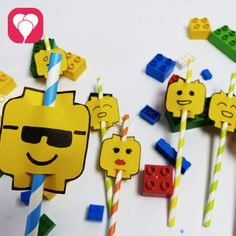 Lego Party - Strohhalm-Deko
