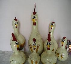 chicken painted gourds-also use as birdhouses