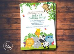Jungle Birthday Invitation Jungle Animals by LoveStoryInvitations