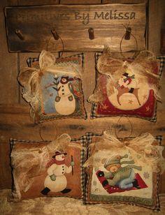 Folk PrimiTive SNOWMAN Pillow Winter ChrisTmas Tree Ornies Ornament Bowl Fillers #NaivePrimitive #MelissaHarmon
