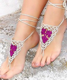 Hey, I found this really awesome Etsy listing at https://www.etsy.com/listing/116077673/barefoot-sandals-orchid-barefoot-sandles