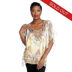 2e8ac18b1aa Evine Online Home Shopping - One World Printed Knit Flutter Sleeved Chiffon  Overlay Embellished Top on sale.