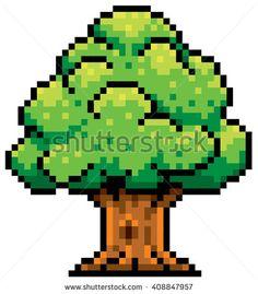 Vector Illustration of Tree - Pixel design - stock vector