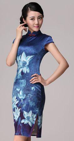 Blue lotus flowers heavy silk cheongsam Chinese qipao dress