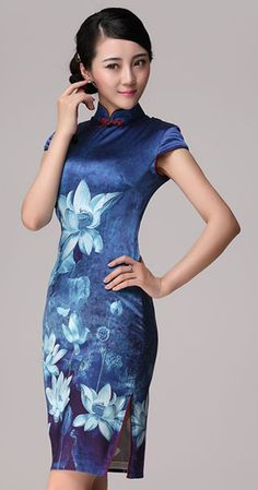 Blue lotus flowers heavy silk cheongsam Chinese qipao dress