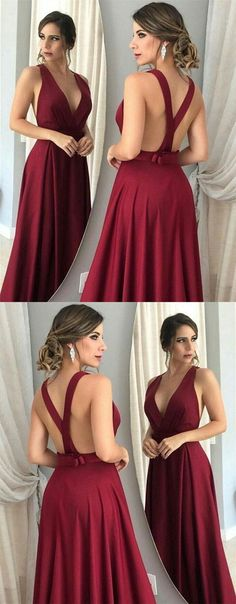Sexy Backless Prom Dress, Long Prom Dress, Burgundy Evening Dress, Satin Formal Dress, V Neck Graduation Party Dress 0724 by RosyProm, $127.99 USD