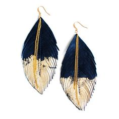 Leather feather earrings Black- Another project to try to DIM(Do-it-myself)