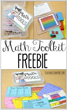 Math Tools {Lots of Freebies} - Teaching with Jennifer Findley Create your own math toolboxes with these FREE printable math tools and other suggested math supplies. These are perfect to use during guided math stations and centers. Fourth Grade Math, Second Grade Math, 4th Grade Math Games, Sixth Grade, Math Resources, Math Activities, Maths 3e, Math Math, Math Fractions