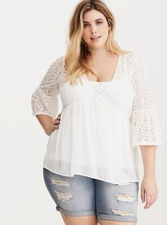Floral Embroidered Chiffon Shirred Top, CLOUD DANCER