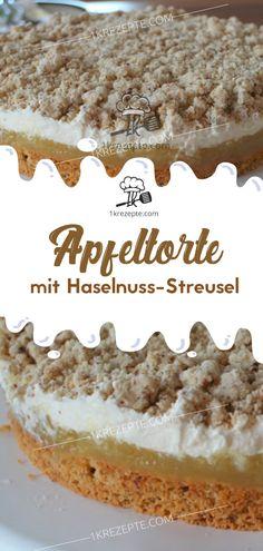 Apfeltorte mit Haselnuss-Streusel Apple pie with hazelnut crumble – recipes Torte Au Chocolat, Torte Recipe, Chocolate Torte, Apple Cake, Food Cakes, No Bake Cake, Nom Nom, Cake Recipes, Deserts