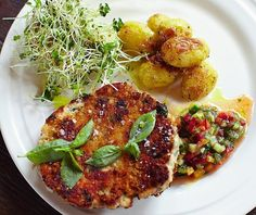 Jamie Oliver's Swedish-style fishcakes, roasted baby new potatoes and fresh zingy salsa