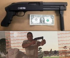 """Super Shorty Shotgun - """"Factory-fabricated with a pistol grip, the Super Shorty is a member of the AOW category and, thusly, comes with an attached Federal Transfer tax of a mere Abe Lincoln"""" [holds two 2 3/4"""" or 3"""" shells in its magazine, and one in its chamber] ($705.00)"""