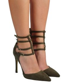 Kara - Olive Feminine Style, Kara, Stiletto Heels, Peep Toe, Ankle, Shoes, Gender, Metallic, Products