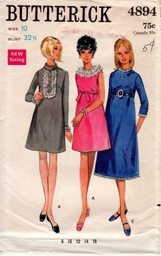 1960s A Line Dress Pattern - Vintage Butterick 4894 - Bust 32 1/2 by ErikawithaK on Etsy