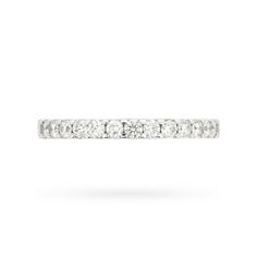 This half eternity ring is a modern classic set in 18 carat white gold with a single row of well-matched round brilliant cut VS1 clarity diamonds in shared claw mountings.