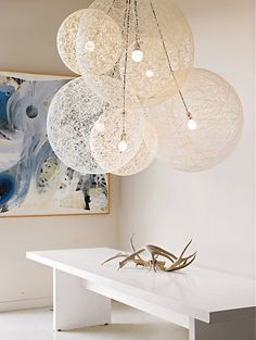 Light Designed by Bertjan Pot for Moooi. Hugely dramatic, light as a feather and distinctly Dutch, the Random Light by Bertjan Pot began as a modernist craft project of sorts. Decor, Interior, Cool Lighting, Lighting Design, Light Fixtures, Home Decor, Home Lighting, Light Fittings, Room Lights