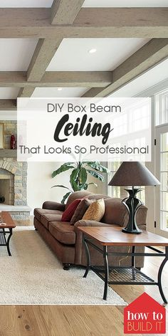 Do you love the look of exposed beams in your house but hate the cost? Here is a tutorial for a DIY box beam ceiling that looks so professional! Ceiling Decor, Ceiling Design, Home Renovation, Home Remodeling, Wooden Ceilings, Tray Ceilings, Wood Beams, Wooden Beams Ceiling, Exposed Beams