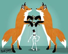 Two foxes and a skeleton marionette puppet vector print. Available from Adorkable Doodles on Etsy.