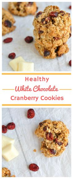 Healthy White Chocolate Cranberry Cookies | Healthy oatmeal cookies with a wonderfully chewy texture, studded with white chocolate and cranberries. One you've made these healthy cookies, you'll want to add them straight to your list of ultimate Christmas recipes! #Healthy #HealthyCookies #HealthyCookie #HealthyCookieRecipe #HealthySnack #HealthySnacks #HealthySnackRecipe #MerryChristmas #Christmas #ChristmasRecipe #ChristmasRecipes #ChristmasCookie #ChristmasCookies #ChristmasCookieRecipe
