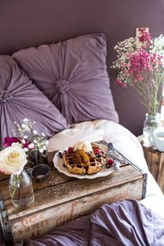 Whole Wheat Belgium Chocolate Chip Waffles with Coconut Caramelized Bananas - perfect Mother Chocolate Waffles, Belgian Chocolate, Mini Chocolate Chips, Homemade Chocolate, Pumpkin Waffles, Pancakes And Waffles, Caramelized Bananas, Half Baked Harvest, Breakfast In Bed
