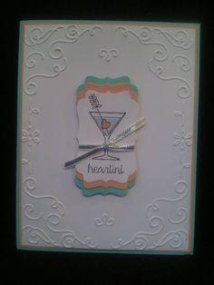 Stampin' Up! card with Making Spirits Bright set.  Coastal Cabana, Crisp Cantaloup, white.  Filigree Frame embossing folder for Big Shot.