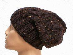 Slouchy hat or ribbed brimmed beanie knit in espresso dark brown tweed....by taschekats