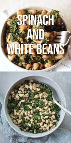 Eating Meals Videos Spinach and White Beans - A super simple vegan side dish that's full of protein and flavor! Vegetarian Recipes Videos, Healthy Recipes, Veggie Recipes, Whole Food Recipes, Health Food Recipes, Vegan Bean Recipes, High Protein Vegetarian Recipes, Dinner Recipes, Hamburger Recipes