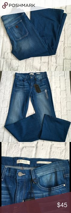 NWT Guess Charlotte Flare Denim Jeans Slim fit, mid rise, flare leg, Conway wash. Waist 16 Rise 10 Inseam 34. Guess Jeans Flare & Wide Leg