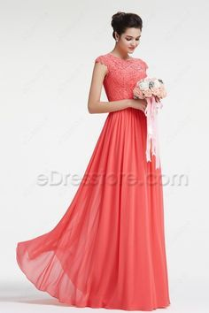 af5ff08c9cbd Modest Lace Coral Bridesmaid Dresses with Sleeves. Coral Dress  WeddingWedding ...