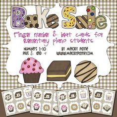 Bake Sale Finger Number Cards {Numbers 1-10}. Indulge your sweet tooth with these adorable and appetizing bake sale themed cards! Perfect for reviewing piano finger numbers and numbers 1-10! #music #fingers #numbers #cookies #bakesale #piano