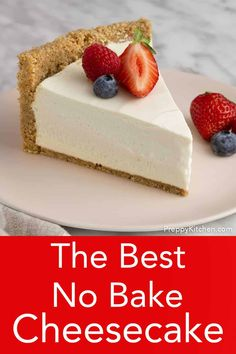 This delicious no bake cheesecake is light, creamy and beyond easy to make. You'll like the perfectly sweet filling with a touch of tang and the fragrant crust packed with toasted pecans. No Bake Cheesecake Filling, Light Cheesecake, Baked Cheesecake Recipe, Homemade Cheesecake, Cheesecake Desserts, No Bake Desserts, Just Desserts, Delicious Desserts, Dessert Recipes