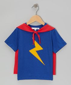 This mini scraps Royal & Red Lightning Bolt Superhero Cape Tee - Toddler & Kids by mini scraps is perfect! #zulilyfinds