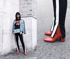 Get this look: http://lb.nu/look/8460411 More looks by ERIKA N: http://lb.nu/erriee Items in this look: Zara Track Pants, Zara Red Boots, J.W.Anderson Logo Bag, Zara Letter T Shirt #chic #sporty #street