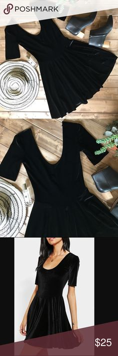 • KIMCHI BLUE black velvet skater dress • Perfect little black dress! Velvet material,  3/4 length sleeve with a low back. Super flattering and comfortable. No flaws at all! Urban Outfitters Dresses Mini