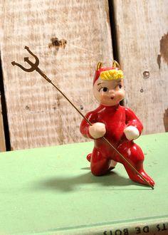 Vintage Red Devil Figurine, Pixies, Kitsch Halloween, 1950s Lefton With Pitchfork, Spaghetti hair, ceramic, porcelain, holiday figurine!