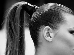 The sleek ponytail that adorned all the models The key to this look is extensions and latex to wrap the pony tail in.